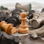 chess piece set on board