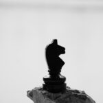 grayscale photography of knight chess